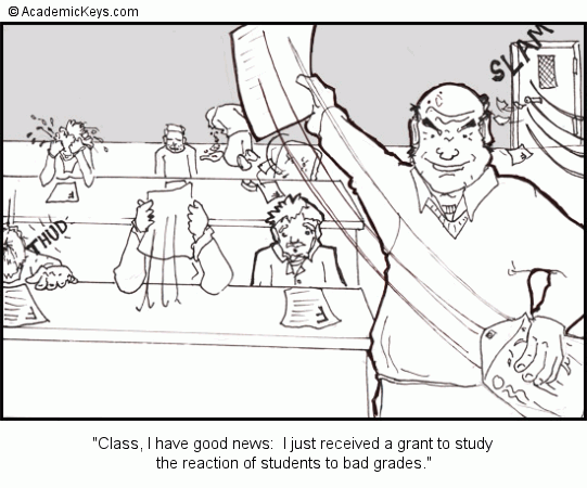 Cartoon #51, Class, I have good news:  I just received a grant to study 